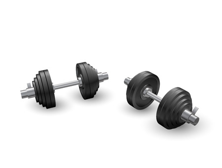 Beautiful realistic perspective view fitness vector of two black iron loadable dumbbells on white background.