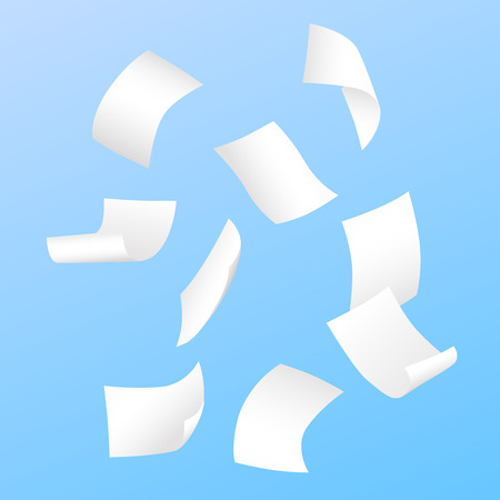Beautiful simple vector of flying blank white papers on blue background.
