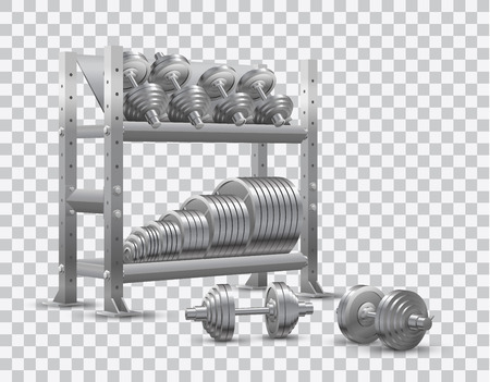 Beautiful realistic fitness vector perspective view on transparent background of a storage shelf full of steel weight barbell plates and of several steel loadable dumbbels.