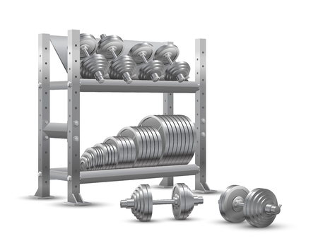 Beautiful realistic fitness vector perspective view on white background of a storage shelf full of steel weight barbell plates and of several steel loadable dumbbels. Illustration