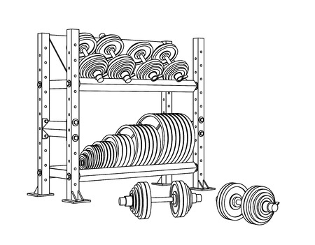 Outline fitness vector perspective view on white background of a storage shelf full of weight barbell plates and of several loadable dumbbels. Иллюстрация