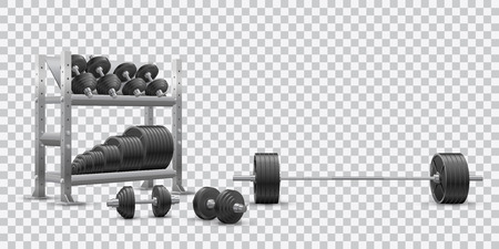 Beautiful realistic fitness vector perspective view on transparent background of a barbell, black iron loadable dumbbels and a storage shelf full of black iron weight barbell plates.