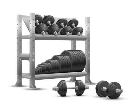 Beautiful realistic fitness vector perspective view on white background of a storage shelf full of black iron weight barbell plates and of several black iron loadable dumbbels.