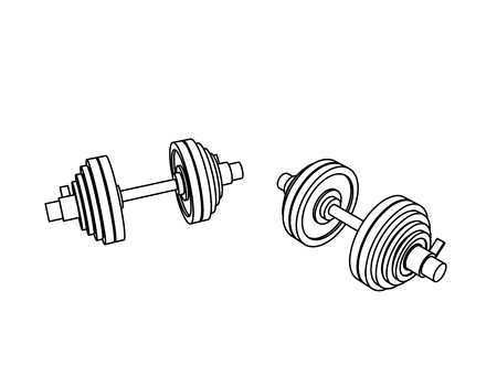 Outline perspective view fitness vector of two loadable dumbbells on white background. Иллюстрация