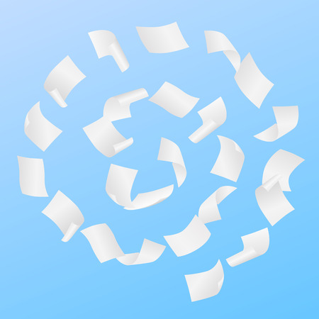 Simple vector of white blank papers flying in the spiral motion in the wind on blue background. Иллюстрация