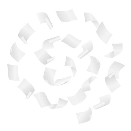 Simple vector of white blank papers flying in the spiral motion in the wind on white background.