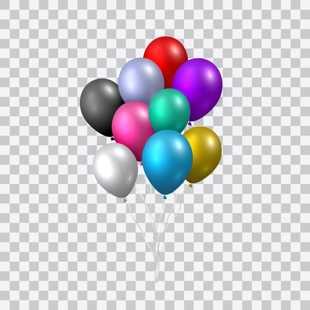 Hermoso vector realista con un paquete de coloridos globos de fiesta voladores sobre fondo transparente.