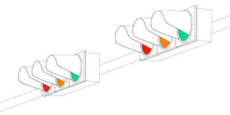 Perspective view line art vector of traffic lights on white background.