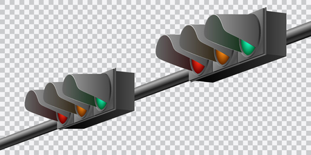 Beautiful realistic colorful perspective view traffic lights vector on transparent background.