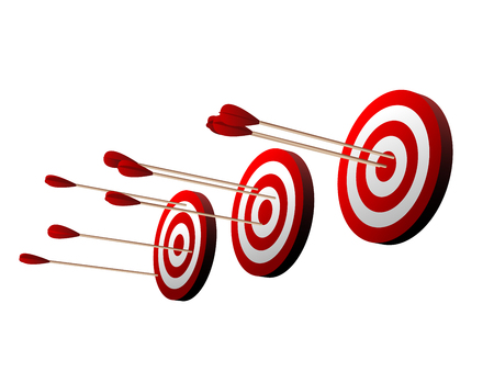 Three beautiful realistic red and white archery targets on white background.