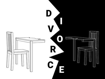 Abstract black and white vector of a divided wooden dining table and two chairs depicting a divorce.