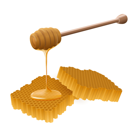 Perspective view of beautiful realistic wooden honey stick with honey flowing on a honeycomb.