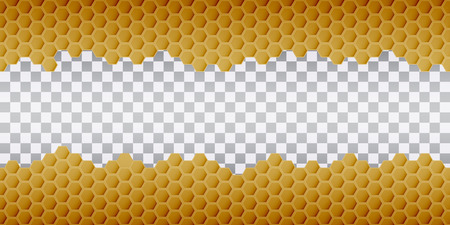 Hexagonal realistic honeycomb seamless texture on transparent background. Ilustracja