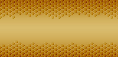 Hexagonal realistic honeycomb seamless texture on yellow background.