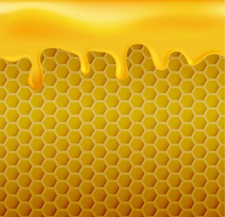 Flowing honey on yellow hexagonal realistic honeycomb seamless texture.