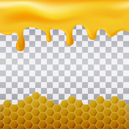 Yellow hexagonal realistic honeycomb seamless texture and flowing honey on transparent background.