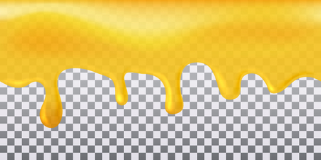 Yellow seamless flowing honey on transparent background.