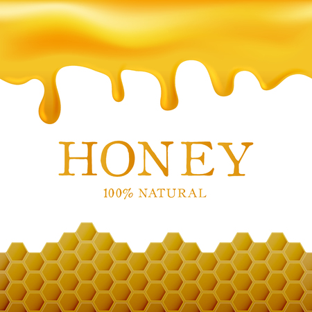 Honey template with yellow hexagonal realistic honeycomb seamless texture and flowing honey on white background. Ilustracja