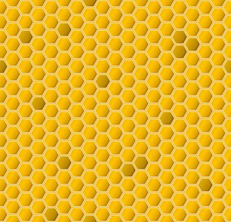 Yellow hexagonal realistic honeycomb seamless texture.
