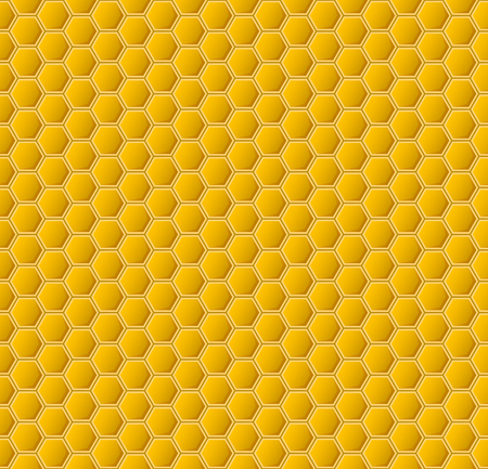 Yellow hexagonal realistic honeycomb seamless texture.
