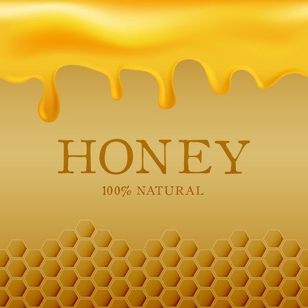 Honey template with yellow hexagonal realistic honeycomb seamless texture and flowing honey on yellow background. Ilustracja