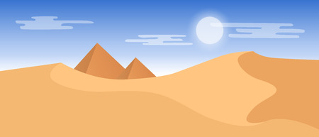 Beautiful widescreen desert landscape with yellow sand dunes and pyramids.