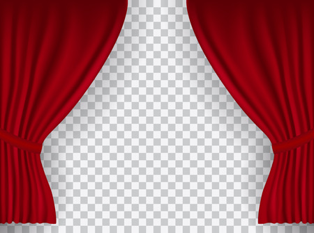 Beautiful red theatre folded curtain drapes on transparent background.