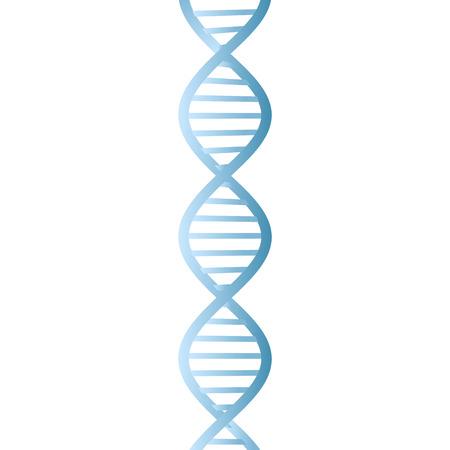 Belle double hélice de couleur bleu ADN réaliste sur fond blanc. Vecteurs
