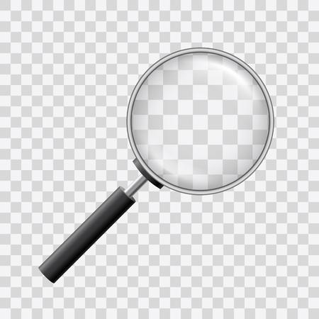 Bellissimo vettore di una lente di ingrandimento con lente d'ingrandimento su sfondo trasparente.