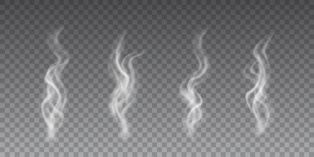 Beautiful vector collection of a flying smoke on transparent background.