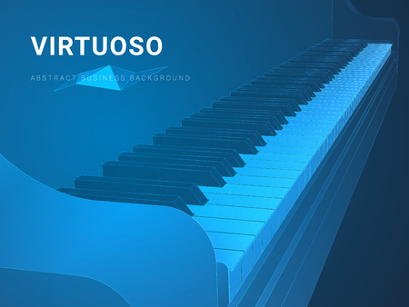 Abstract modern business background vector depicting a virtuoso in shape of a grand piano keyboard on blue background. Illustration