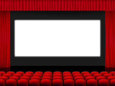 Bella sala cinematografica rossa con sedili di fronte a uno schermo bianco tra tende rosse piegate su un vettore di palcoscenico nero. Vettoriali