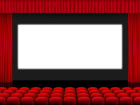 Schöner roter Kinosaal mit Sitzen vor einem weißen Bildschirm zwischen roten gefalteten Vorhangvorhängen auf einem schwarzen Bühnenvektor. Vektorgrafik