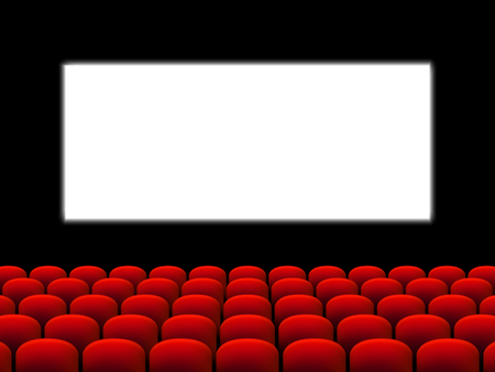 Beautiful red cinema hall with seats facing a white screen on a black stage vector.