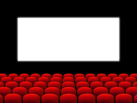 Bella sala cinematografica rossa con posti di fronte a uno schermo bianco su un vettore di palcoscenico nero.