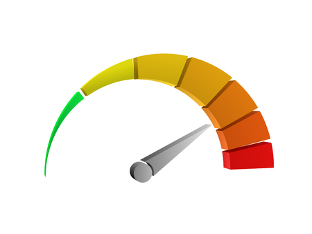 Perspective view of a colorful 3d speedometer vector on white background. Çizim
