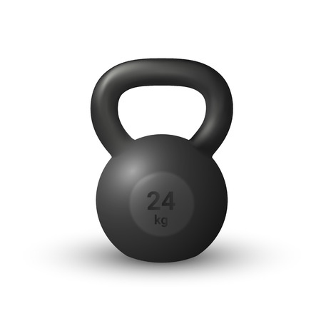 Beautiful realistic black iron cast kettlebell vector isolated on white background.