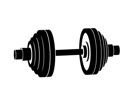 Simple black dumbbell perspective vector icon on white background.