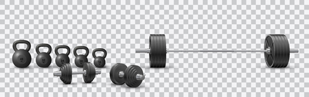 Beautiful realistic fitness vector of a barbell, black iron loadable dumbbels and a set of kettlebells on transparent background.