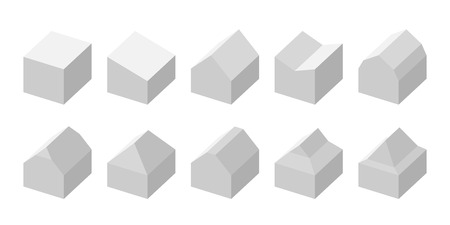 Simple flat vector set of different house roof shapes.