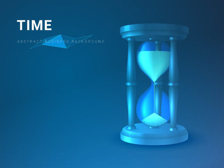 Abstract modern business background vector depicting time in shape of an hourglass on blue background.