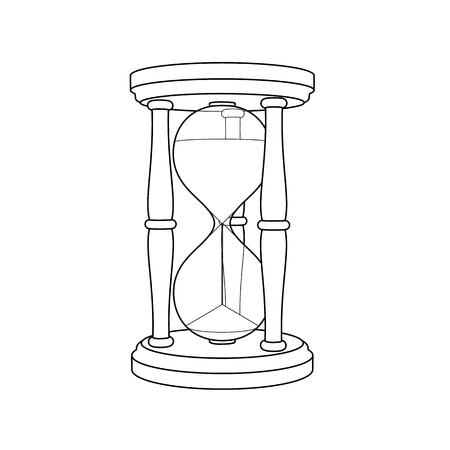 Detailed outline icon of vintage hourglass on white background.