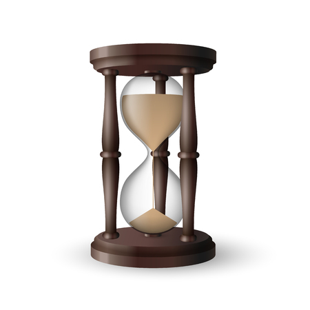 Beautiful realistic wooden vintage hourglass on white background.