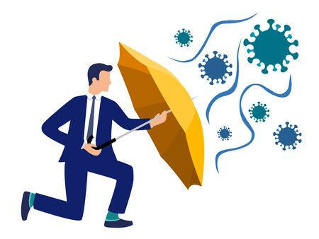 Flat vector businessman holding an umbrella protecting him from virus - coronavirus pandemic, safety measures, protection