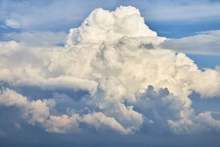 Beautiful colorful aerial photo of clouds in the blue sky