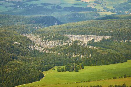 Aerial view of sandstone cliffs in bohemian paradise, Czechia. Standard-Bild