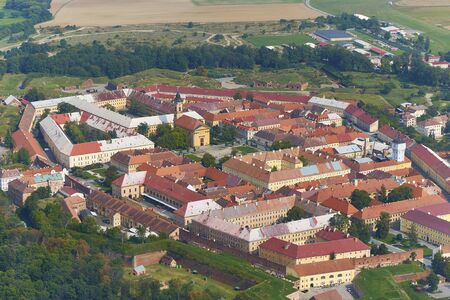 Aerial view of a fort Josefov in Czechia.