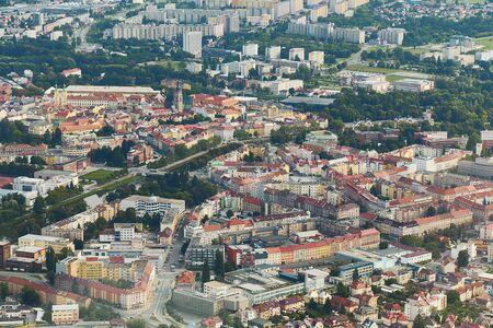 Aerial view of Hradec Králové city in Czechia.