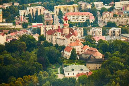 Náchod, Czechia - 08/25/2019 - Aerial view of Náchod castle.