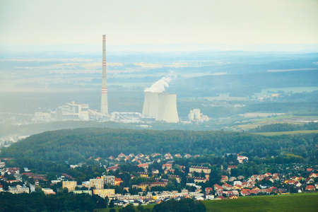 Chvaletice, Czechia - 08/25/2019: Aerial view of thermal coal power plant Chvaletice.